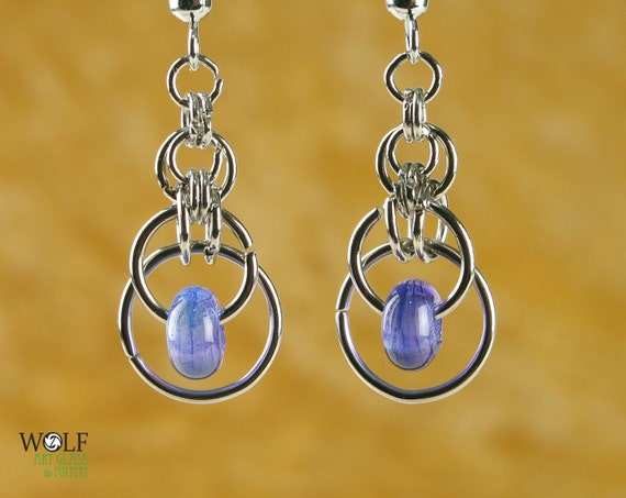 Pale Purple Amethyst Chainmaille Lampwork Glass Bead Earrings Eclipse Drop