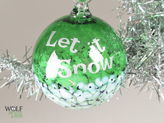 Blown Glass Tree Ornament Silver Let It Snow Etched Ball Emerald Green Blossom