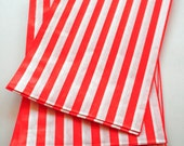 Set of 25 - Traditional Sweet Shop Red Stripe Paper Bags - 7 x 9
