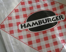 Vintage Style Foil Paper Lined Jumbo Hamburger Bags - Red and Black Checkered - Gusseted 6-1/2 x 1-1/2 x 7-3/4 Inches - set of 25