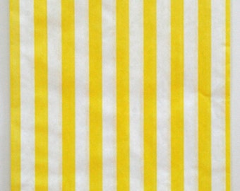 Set of 25 - Traditional Sweet Shop Yellow Stripe Paper Bags - 7 x 9 New Style