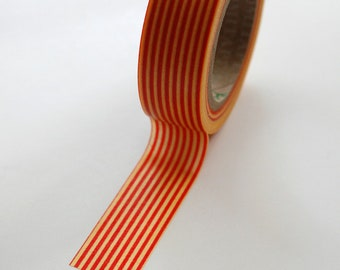 Washi Tape - 15mm - Red and Yellow Vertical Stripes - Deco Paper Tape No. 363