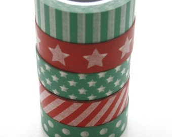 Washi Tape Set - 15mm - Combination ET - Holiday Red and Green - Five Rolls Washi Tape - No. 463,459,462,461,454