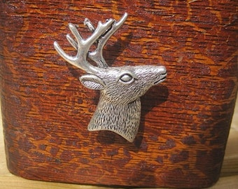 Deer Head Drawer Knobs in Silver Metal (MK136)