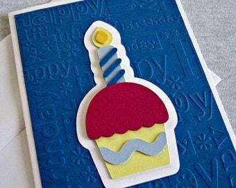 Cupcake Birthday Card in Blue