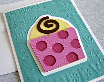 Cupcake Birthday Card in Teal