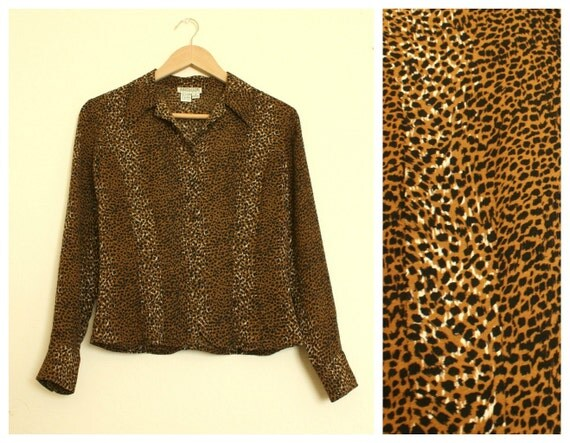 Leopard Animal Print Button Down Long Sleeve Silk Blouse S