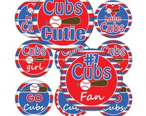 Bottle Cap Images - Cubs Baseball  - 1 inch circles
