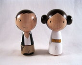 Kokeshi Princess Leia Han Solo Peg Doll collectable