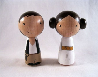 Kokeshi Princess Leia Han Solo Peg Doll collectable