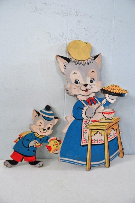 Pair of Huge Figures Kittens Cat with Pies Art Vintage Artwork kids room rustic cartoon