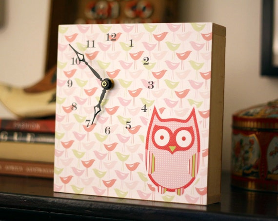 Modern Owl Clock - Nursery Art - Kids Wall Art