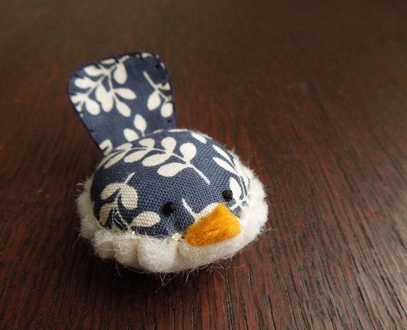 Handmade Decorative Bird in Navy Blue Floral