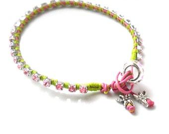 Crystal Bracelet / Leather Bracelet  Pink rhinestone chain hand woven in cotton Boho chic fashion neon trendy armcandy stocking stuffer