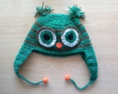 Crochet Pattern Tutorial PDF 76 Owl Beanie Hat Earflap  (4 sizes Included: Baby Toddler Child Adult). INSTANT DOWNLOAD