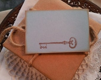 Skeleton Key Place Cards Food Buffet Label Tags Set of 10