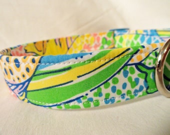 Lilly Pulitzer Fabric Dog Collar Boy Girl Blue Green Tropical Fish