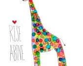 8x10, adorable multicolored giraffe limited edition art print, pencil & watercolor