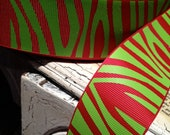 """1.5"""" GRINCH ZEBRA Red and Lime Grosgrain Ribbon sold by the yard"""