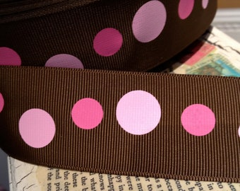 "3 yards 1.5"" Preppy Shades of PINK Pollka Dot On Brown grosgrain ribbon"
