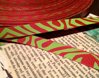 "3 yARDS 3/8"""" GRINCH ZEBRA Red and Lime Grosgrain Ribbon"
