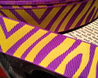 "3 Yards 7/8"""" LSU Gold and PURPLE ZEBRA Grosgrain Ribbon"