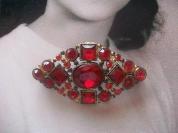 Gorgeous Vintage Red Rhinestone Brooch, Wedding Jewelry, Mad Men, Holiday Jewelry