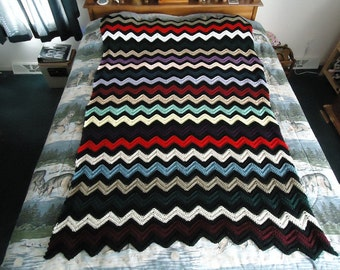 Multi Colored Hand Crocheted Ripple Afghan, Blanket, Throw - Home Decor