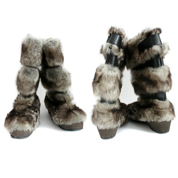 Vintage boots / faux fur and leather Yeti apre ski / size 39/39.5 - 8/8.5