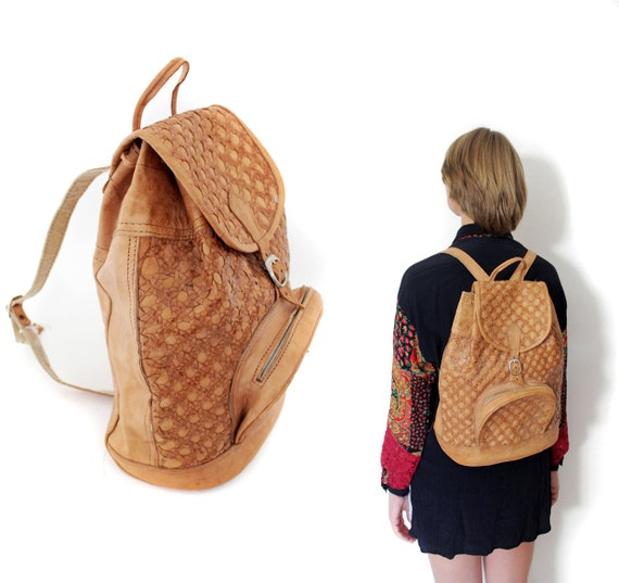 Vintage backpack / tan leather woven rucksack
