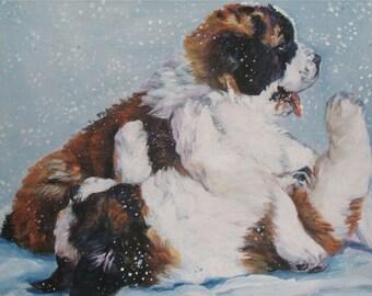 "st Saint Bernard DOG ART canvas PRINT of LAShepard painting 11x14"""
