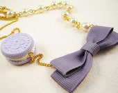 Lilac Bow and Cookie Lolita Necklace