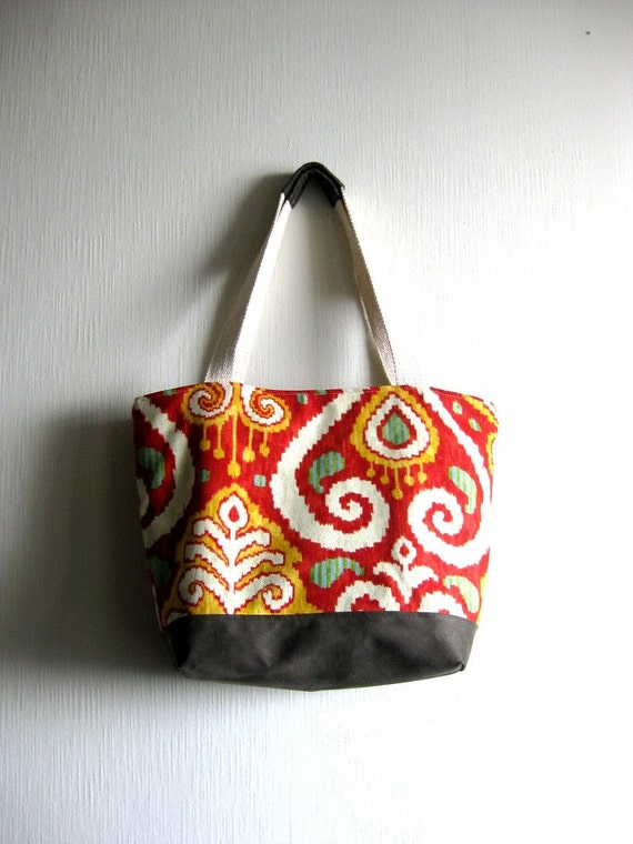 Tote bag, purse - Leona Summer Market Bag in Gray - Green vegan suede  and a red and yellow fabric