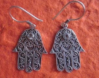 Balinese sterling silver Hamsa topaz Earrings / silver 925 / Bali handmade jewelry /  granulation