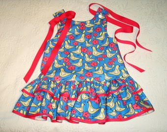 Flapper Style Jumper Dress,  Girls size 3T,  Ready to Ship in Cornflower Blue and French Pink Print