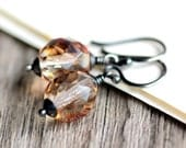 Topaz Beaded Earrings Czech Glass and Oxidized Sterling Silver - Honeyed Wine - Fall Fashion Brown Amber