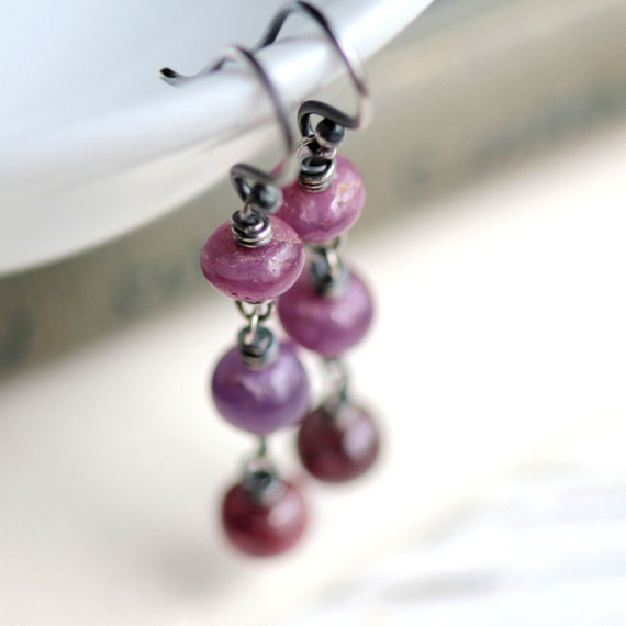 Pink Sapphire Dangle Earrings on Sterling Silver - Pomegranate Drops - Winter Holiday Fashion Luxury September Birthstone Jewelry