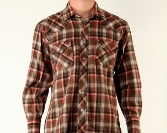 Vintage Wool Mens Shirt Rustic Western Wool Flannel Button up Brown Red Plaid L