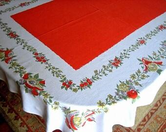 Retro vintage print Fifties mod bright Tablecloth Supple sailcloth Cotton Orange GARDEN FLOWERS FRUIT