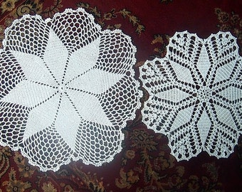 Doily hand made filet lace pair cotton set 2 White Cotton Pinwheel Stars