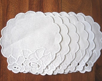 RUNNER Table Scarf Vintage NEW 6 Linen White Embroidered LACE Doily or Coaster