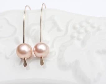 Modern Simple Earrings 14K Goldfilled Pastel Pearls Tea Rose Peach Wedding Bridal Fashion Minimalist design