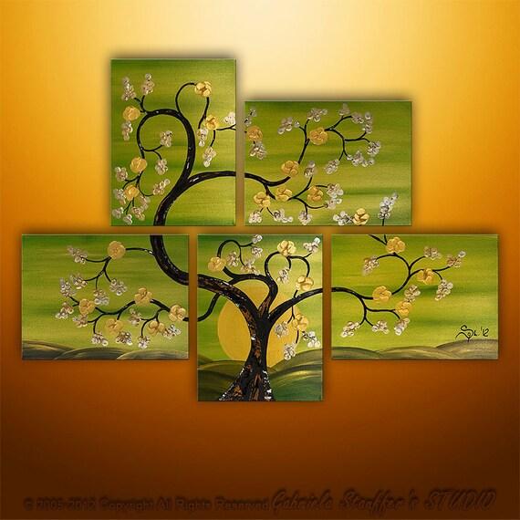 Abstract Modern Landscape Tree Asian  Art by Gabriela 44x32  Metallic