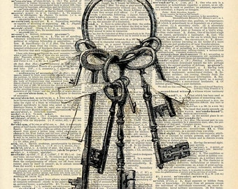 Vintage Book Art Print - Vintage Skeleton Key Art - Fairy Tale Victorian Key - Secret Garden Key Print - Recycled Book Art Print