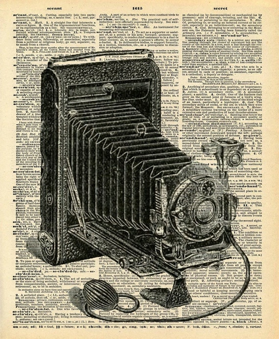 Vintage Camera Art - Dictionary Print - Upcycled Recycled Antique Book Print - Vintage Camera Film Photography