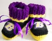 Custom handmade knit NFL Baltimore Ravens baby booties 0-12M-cute gift photos