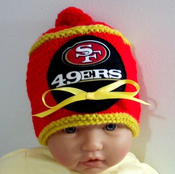 Hand made knit NFL San Francisco 49ers baby hat 0-12M- cute gift photo prop