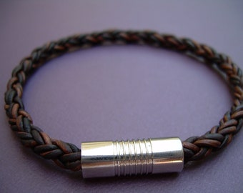 Natural Antique Brown Braided Mens Leather Bracelet with Stainless Steel Magnetic Clasp
