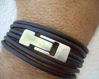 Leather Bracelet, Double Strand Triple Wrap, Industrial Magnetic Clasp, Mens Bracelet, Mens Jewelry, Womens Bracelet, Womens Jewelry, Groom