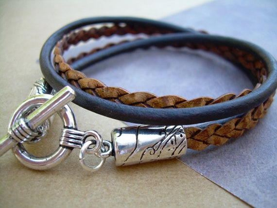 Natural Brown Leather Bracelet, Double Strand, Double Wrap, Mens Jewelry, Womens Bracelet, Womens Jewelry, Mens Bracelet